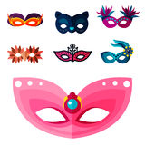 Authentic handmade venetian painted carnival face masks party decoration masquerade vector illustration Royalty Free Stock Photography