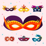 Authentic handmade venetian painted carnival face masks party decoration masquerade vector illustration Royalty Free Stock Photo