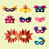 Authentic handmade venetian painted carnival face masks party decoration masquerade vector illustration Royalty Free Stock Image