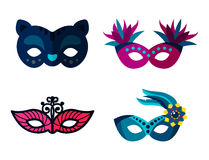 Authentic handmade venetian painted carnival face masks party decoration masquerade vector illustration. Authentic handmade venetian painted carnival face masks royalty free illustration