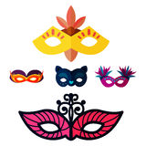 Authentic handmade venetian painted carnival face masks party decoration masquerade vector illustration. Authentic handmade venetian painted carnival face masks vector illustration