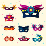 Authentic handmade venetian painted carnival face masks party decoration masquerade vector illustration Royalty Free Stock Images