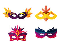 Authentic handmade venetian painted carnival face masks party decoration masquerade vector illustration Stock Photo