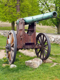 Authentic historical cannon in Trencin, Slovakia. Historical cannon standing on rocks with trees in the background. This is authentic historical cannon located Royalty Free Stock Images