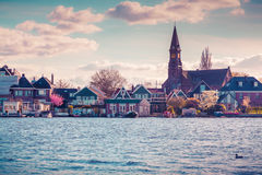 Authentic Holland architecture on the water channel Royalty Free Stock Images
