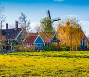 Authentic Holland architecture on the water channel in Zaanstad Royalty Free Stock Images