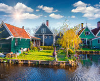 Authentic Holland architecture on the water channel in Zaanstad Royalty Free Stock Photos
