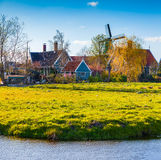Authentic Holland architecture on the water channel in Zaanstad Royalty Free Stock Photo