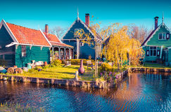 Authentic Holland architecture on the water channel in Zaanstad Stock Image