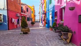 Authentic house and Colourful washing hanging in the backstreets of Venice stock images
