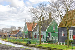Authentic houses at the Zaanse Schans in Holland Stock Images