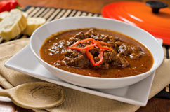 Authentic Hungarian Goulash. A hot bowl of authentic hungarian goulash with beef and red peppers royalty free stock photo