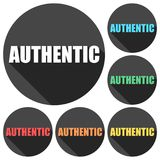 Authentic icons set with long shadow. Vector icon Royalty Free Stock Photography