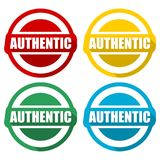 Authentic icons set with long shadow. Vector icon Stock Photo