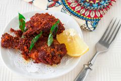 Authentic Indian Chicken fry with spices, curry leaf and coconut Royalty Free Stock Photos