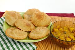 Authentic Indian Poori Bhaji dish Stock Image