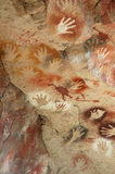 Authentic Indiginous Art series. Authentic ancient cave art of Argentinian Patagonia Stock Photos