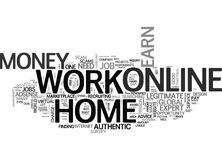 Authentic Info Work Online From Home To Earn Money Word Cloud. AUTHENTIC INFO WORK ONLINE FROM HOME TO EARN MONEY TEXT WORD CLOUD CONCEPT Royalty Free Stock Photo
