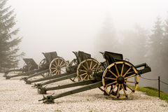 Authentic Italian cannon on a white foggy background stock image