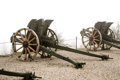 Authentic Italian cannon on a white foggy background Royalty Free Stock Images
