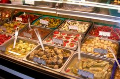 Authentic Italian Deli Case. Wide selection of fresh italian deli appetizers Royalty Free Stock Image