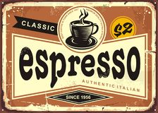 Authentic Italian espresso vintage tin sign Royalty Free Stock Photography