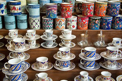 Authentic Iznik tile work cups Stock Image