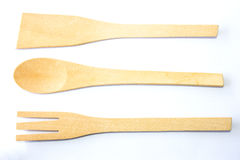 Authentic kitchen wooden utensil of scapula, spoon and fork Royalty Free Stock Image