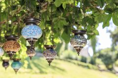 Authentic lamps with park background in Rhodes, Greece. Authentic lamps with park background in Rhodes, Dodecanese, Greece stock image
