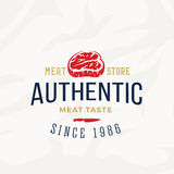 Authentic Meat Store Vintage Typography Label, Emblem or Logo Template. Premium Quality Steak Sign. Butchery and Royalty Free Stock Images