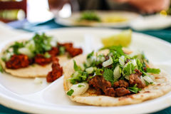 Authentic Mexican beef tacos in LA eatery. Some authentic Mexican beef tacos in LA eatery Royalty Free Stock Images