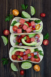 Authentic mexican grilled fish tacos with watermelon Pico de Gallo. Authentic mexican grilled fish tacos with watermelon Pico de Gallo stock photo