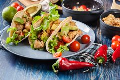 Authentic mexican tacos with chicken and salsa with avocado, tomatoes and chillies stock images