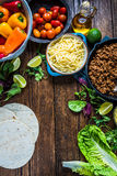 Authentic mexican tortillas ingredients on table. View from above, space for recipe Stock Images