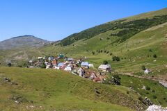 Authentic mountain village in Central Bosnia. Lukomir. Bosnia and Herzegovina travel. View from above the village.