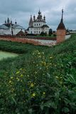 Authentic old Russian town Yuryev-Polsky. Kremlin in ancient russian town Yuryev-Polsky stock images