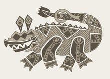Authentic original decorative drawing of crocodile stock illustration