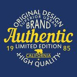 Authentic original design for clothing, superior urban brand graphic for t-shirt. Original clothes design, apparel typography. Royalty Free Stock Images