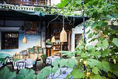 Authentic outdoor cafe Old Tbilisi stock photos