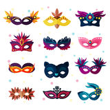 Authentic party carnival face masks decoration masquerade vector illustration Stock Images