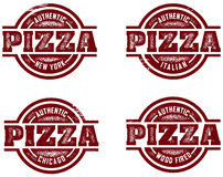Authentic Pizza Stamps. Distressed authentic style pizza restaurant designs created in a vintage stamp style Stock Photography
