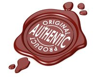 Authentic product red wax seal. 3D rendering Stock Image