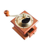 Authentic red wood and metal coffee mill isolated Royalty Free Stock Photo