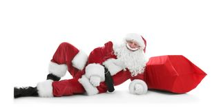 Authentic Santa Claus with big red bag full Stock Photography