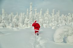 Authentic Santa Claus in Lapland. Magnificent snow-covered landscape stock photos