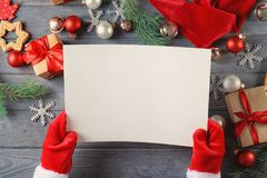 Authentic Santa Claus with letter. At wooden table Stock Images