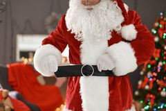 Authentic Santa Claus in traditional costume. Indoors stock images