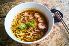Authentic Sarawak laksa noodle with prawn and egg strips Royalty Free Stock Photos