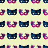 Authentic seamless pattern venetian painted carnival face masks party decoration masquerade vector illustration Royalty Free Stock Images