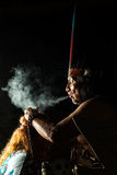 Authentic Shaman Ceremony. Shaman In Ecuadorian Amazonia During A Real Ayahuasca Ceremony Model Released Image As Seen In April 2015 Royalty Free Stock Photo